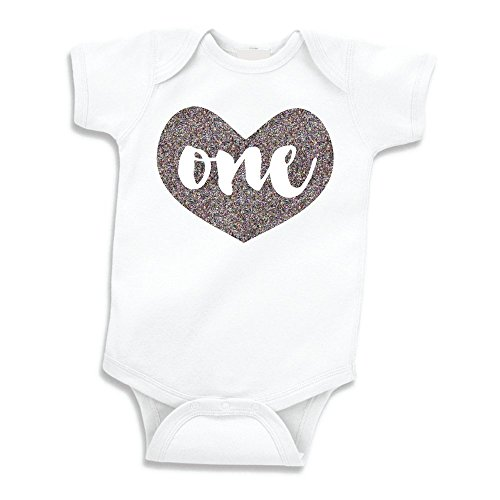 Girl First Birthday Outfit, Baby Girls One Year Old Birthday Shirt (Glitter Silver, 12-18 -