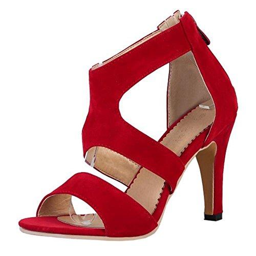RAZAMAZA Mujer Moda Punta Abierta Tacon Delgado Sandalias Correa al Tobillo Cremalleraper Zapatos Rojo