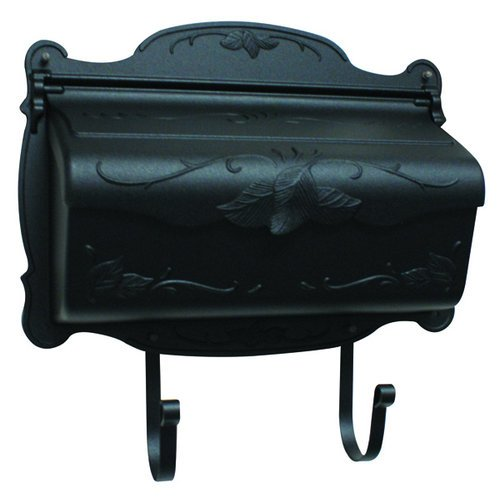 Floral Horizontal Wall Mounted Mailbox Finish: Black