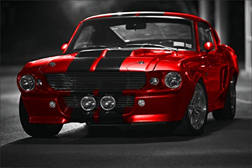 Innerwallz Ford Mustang GT500 Shelby Red Front Cars Wall Art, Pop Art, Poster, Art Prints | Rare Posters