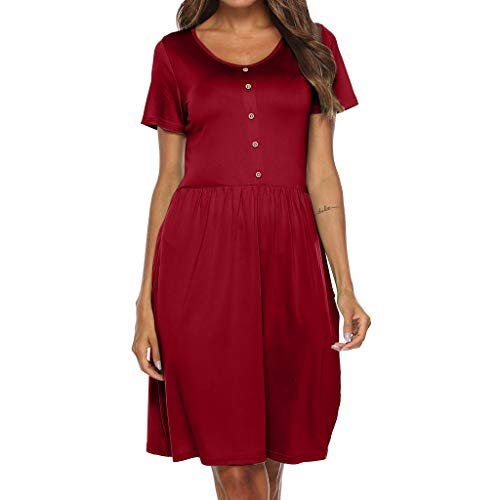 URIBAKE ♥️ Women Solid Mini Dress O Neck Short Sleeve Button Above Knee Ladies's Casual Sleepwear Soft Party Dress Red