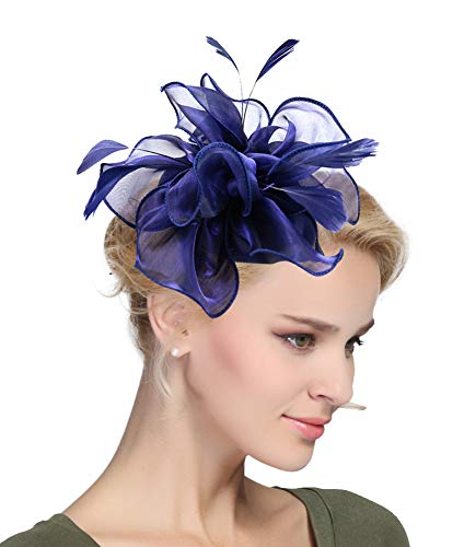 (Urban CoCo Women's Vintage Flower Feather Mesh Net Fascinator Hair Clip Hat Party Wedding (Navy Blue-Series 4) )
