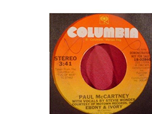 Rare Paul McCartney & Stevie Wonder Near Mint Radio Station Promo Issue 7 Inch 45 rpm & Stock Sleeve - Ebony & Ivory - Columbia Records - 1982