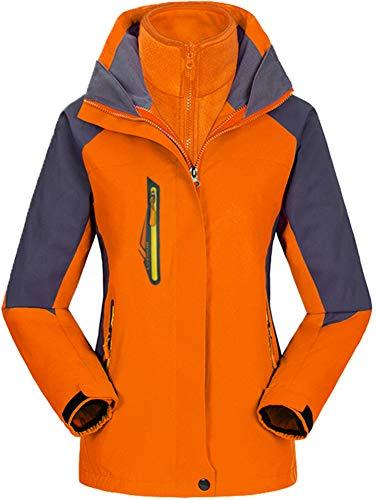 AbelWay Women's Mountain Waterproof Windproof Fleece 3 in 1 Jacket Ski Hooded Rain Coat(Orange,L)