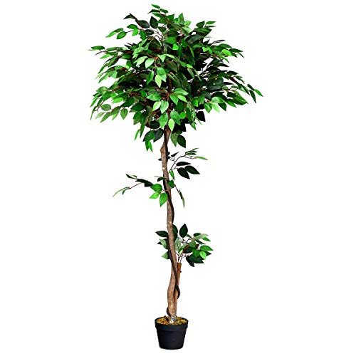 Goplus Fake Ficus Tree Artificial Greenery Plants in Pots Decorative Trees for Home, Office, Lobby (5.5Ft Ficus Tree) ()