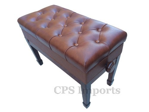 Adjustable Duet Size Genuine Leather Artist Piano Bench Stool in Walnut with Music Storage