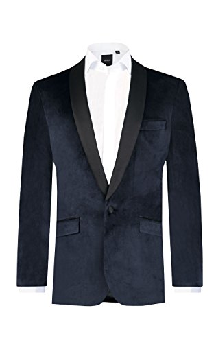 (Dobell Mens Navy Velvet Jacket Regular Fit Contrast Shawl)