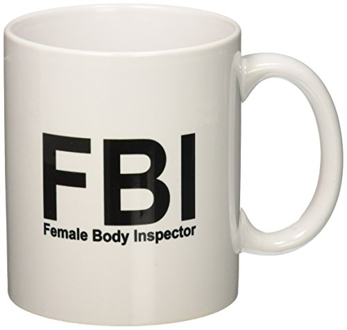 Mug White Body - 3dRose FBI Female Body Inspector Mug, 11-Ounce, White