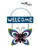 Spring Floral (Bonus BCL Exclusive Garden Fairy) Metal Butterfly Welcome Signs,10.5 in. May Vary