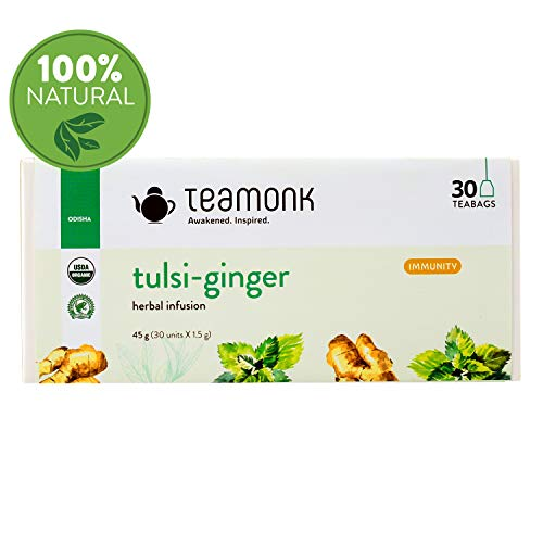 - Tulsi-Ginger Herbal Infusion Tea, 30 Teabags | Herbal Tea Nourishes Glow from Within, Helps Build Immunity | No Additives
