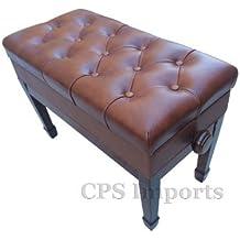 Adjustable Duet Size Genuine Leather Artist Piano Bench in Walnut