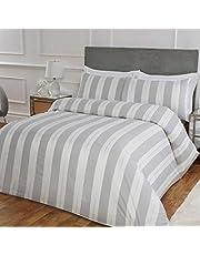 Sleepdown Glitz rand lyxig Lurex jacquard vitt silver lättskött mjukt mysigt täcke täcke täcke täcke sängkläder set med örngott – dubbel (200 cm x 200 cm), polybomull