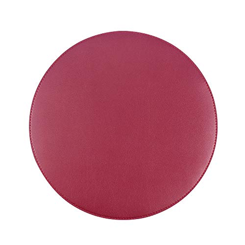 Wine Red PU Leather Mouse Pad Mouse Mat,Smooth Surface,Anti Slip Base,Water-Resistant Mouse Pads for Desktops,Laptop,Computer & PC,8 5/8 inches in Diameter,Round