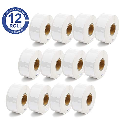 12Rolls Replacement for Dymo 30332 Multi-Purpose Labels 1 x 1(25mmx25mm) LW Square Labels Black on White Compatible with Dymo Labelwriter 450, Dymo 450 Turbo, Dymo 450 Twin Turbo