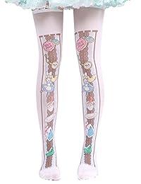Hugme Womens cute alice in wonderland print lolita thigh-high stockings