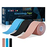 FriCARE 3 Rolls Precut Kinesiology Tape, Knee Shoulder Ankle Tendinitis Back Pain Relief, Waterproof Sports Tape, Downloadable Guide