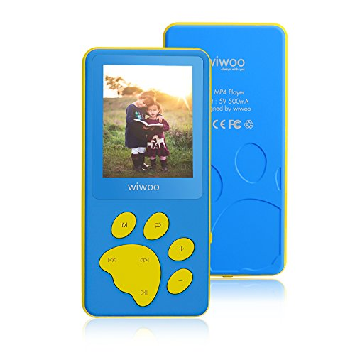 Aniee MP3 Player / MP4 Player with Cartoon Bear Paw Button, Kids MP3 Player with FM Radio, Video, Photo Viewer & Voice Recorder, Portable Music Player Support Up to 64GB, Blue