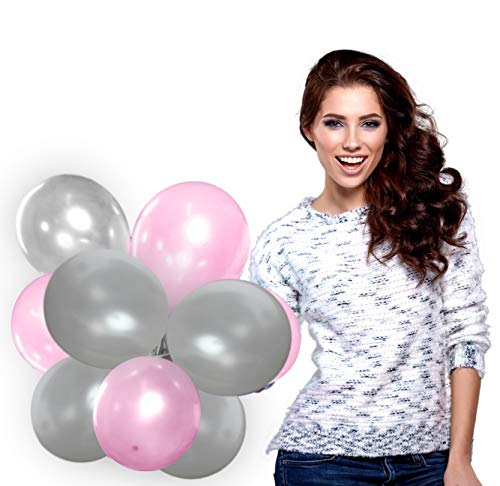 Treasures Gifted Silver and Pink Balloons Set in Metallic Latex for Baby Shower Birthday Wedding Decorations ()
