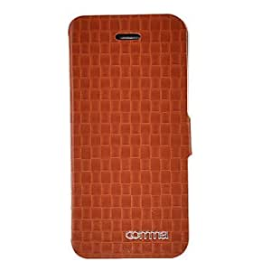 COMMA Genuine Leather Full Body Case with Detachable Back Cover and Card Slot for iPhone 5 (Assorted Colors) - COLOR#Dark Brown