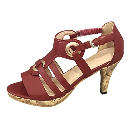 (♡QueenBB♡ Women's Ladies Elegant High Heels Dress Sandals Clog Sandals Open Toe Buckle Strap Roman Shoes Red)