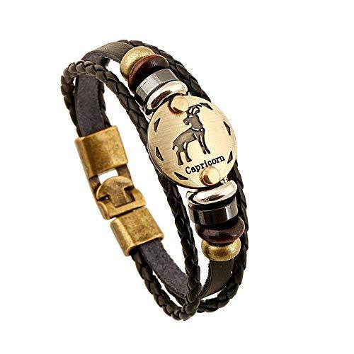 CAIYCAI Bronze Alloy Buckles Zodiac Signs Bracelet Punk Leather Bracelet Wooden Bead Hematite Charm Jewelry Capricorn OneSize (Cm Punk Best Promo)