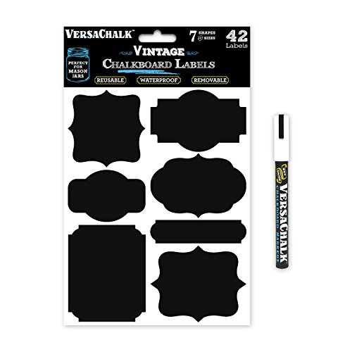Black Vinyl Chalkboard Kitchen Pantry Labels for Canning, Mason or Spice Jars - Best Chalk Board Stickers for Liquid Chalk Ink (Vintage + Free Marker)
