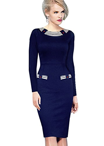 [Merope J Womens Round Neck Striped Patchwork Pencil Party Dress(Blue, S)] (Wine Inspired Halloween Costumes)