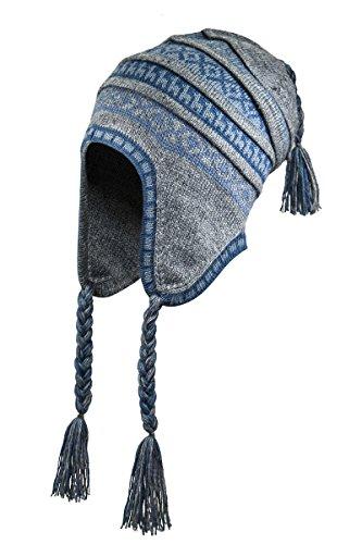 - Superfine 100% Alpaca Wool Handmade Intarsia Chullo Ski Hat Beanie Aviator Winter (Gray/Blue)