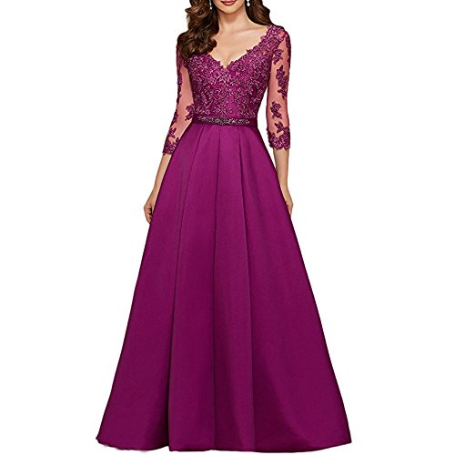 MEILISAY Meilishuo Women's V-Neck Long Applique Prom Dress Beaded Formal Evening - V 2140