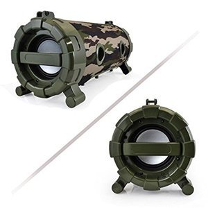 Pyle Street Blaster Wireless Bluetooth Boom Box Speaker, Built-in Rechargeable Battery, MP3/USB/SD, FM Radio, DJ  Lights,Camouflage (PBMSPG120CM) by Pyle