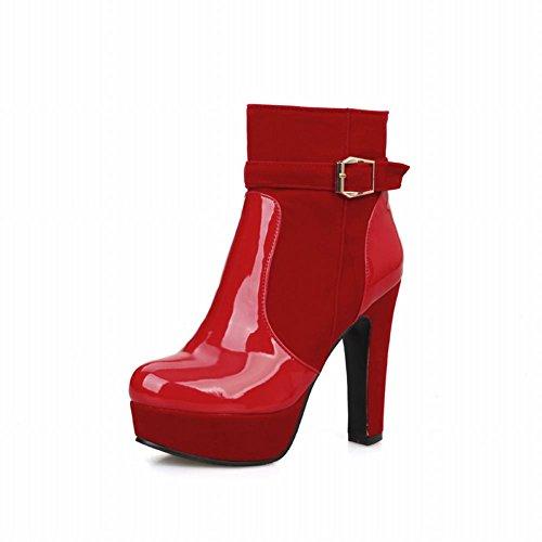 Carolbar Womens Fashion Charm Dragkedja Lackläder Spänne Plattform Hög Klack Klänning Stövlar Röd