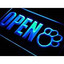 ADV PRO j792-b OPEN Dog Paw Print Grooming Shop Neon Light Sign