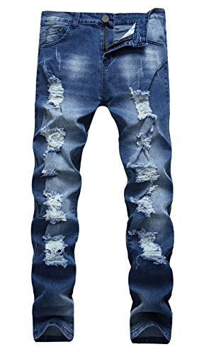 FEESON Men's Casual Regular Slim Fit Stretchy Washed Ripped Denim Jeans Dark Blue 34 (Best Fitting Mens Jeans 2019)