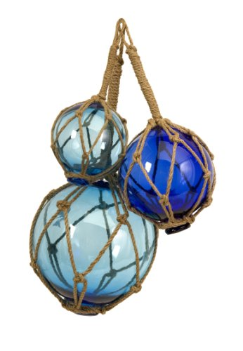 IMAX 50890-3 Buoyant Glass Floats in Blue - Set of 3 Glass Fishing Net Floats - Coastal Indoor and Outdoor Accessory. Decorative Accessories (Glass Float Ball)