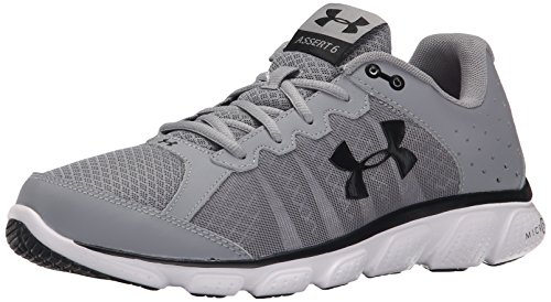 Under Armour Men's Micro G Assert 6 Running Shoes, Steel/White, 8 D(M) US