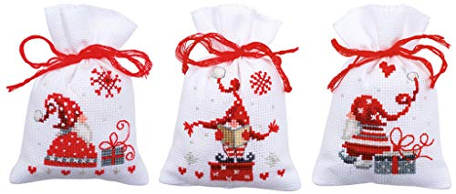 Vervaco Christmas Gnomes Gift Bags Counted Cross-Stitch Kit (Christmas Gnomes Cross Stitch)