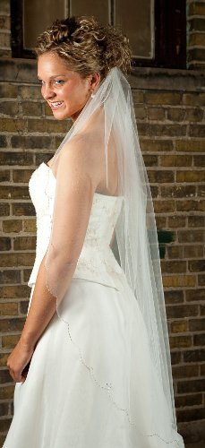Fingertip length Wedding Veil with Scalloped Beaded Edge