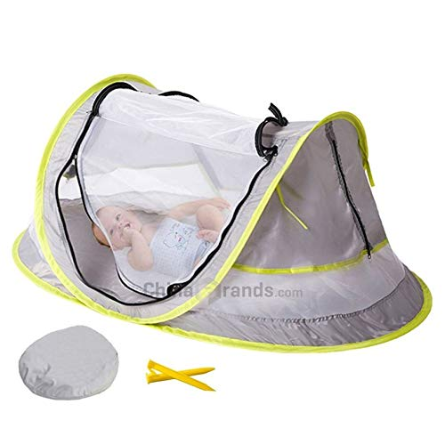 MinGz Large Baby Travel Tent, Portable Baby Travel Bed UPF 50+ Sun Travel Cribs Pop Up Folding Beach Tent Mosquito Net and 2 Pegs Infant Beach Gear UV Protection by MinGz