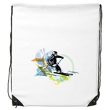 Mochila deportiva de invierno para deportes de esquí, natación, esquí, acuarela, ilustración