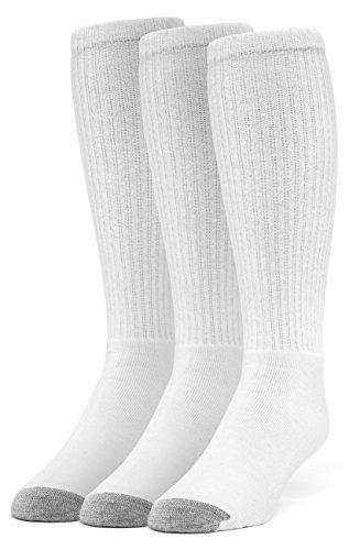 Galiva Men's Cotton Extra Soft Over the Calf Cushion Socks - 3 Pairs, Medium, White