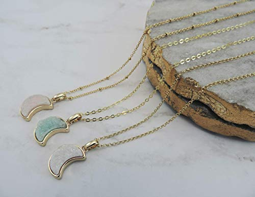 Druzy Crescent Moon Shape Necklace • Green/White/Pink Gold Framed Natural Drusy Crescent Pendant Necklace • Celestial Jewelry, Druzy Jewelry