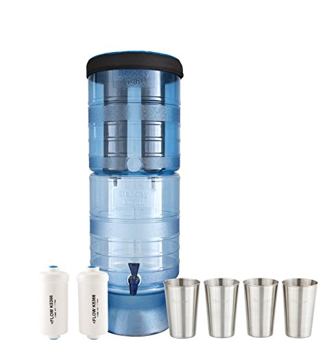 Berkey Light Water Filter System w/2 Black Purifier Filters (2.5 Gallons) Bundled w/1-set of Fluoride Filters (PF2) and 1-set of 4 Stainless Steel Cups