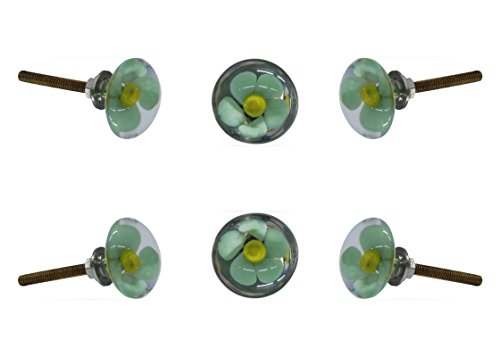 Cabinet Hardware Flower - Set of 6 Glass Mendip Green and Yellow Flower Cabinet Knobs Kitchen Cupboard Dresser Drawer Door Knob Pull by Trinca-Ferro