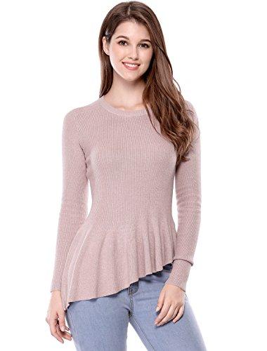 Allegra K Women's Long Sleeve Ribbed Knit Ruffle Hem Peplum Top S Pink (Top Knitted Peplum)