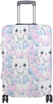(ソレソレ)スーツケースカバー 防水 伸縮素材 キャリーカバー ラゲッジカバー ねこ 猫柄 花柄 かわいい 可愛い 可愛い おしゃれ 防塵 旅行 出張 便利 S M L XLサイズ