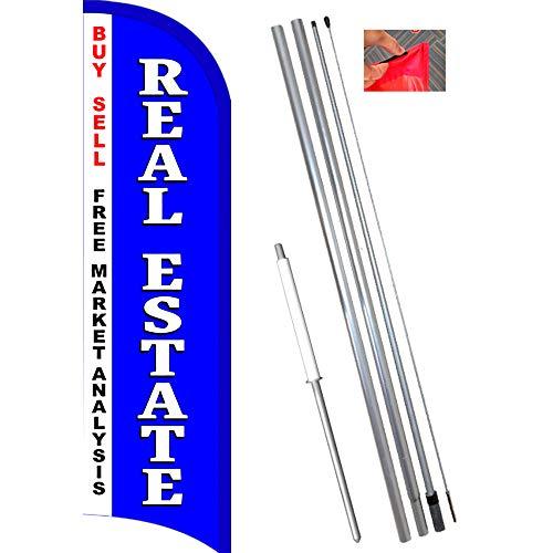 Real Estate Windless Feather Flag Bundle (11.5' Tall Flag, 15' Tall Flagpole, Ground Mount Stake) - Estate Flagpole
