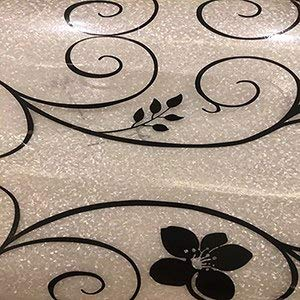 High quality tablecloths Soft Glass PVC Waterproof oilproof Party Wedding Home Kitchen Placemat Pad home decoration 1.0mm  black flower B07RKS3B66
