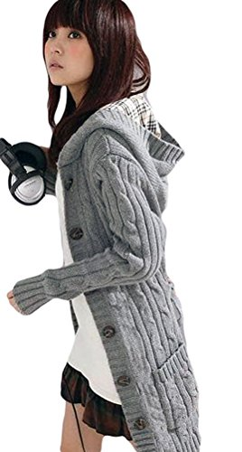 Women's Casual Warm Knitted Bleted Mid-long Sweaters Gray