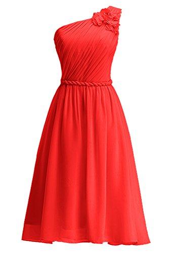 Linie Geblümtes Knielang Abendkleid Tochter Brautjungkleid Ein KekeHouse® Rot Schulter Partykleid A Blumenmkleid Mutter zBSxtq