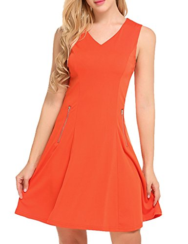A BURLADY and Women's with Patchwork Floral Belt Orange Flare Line Sleeveless Fit Dress Retro q8Xwrfd8